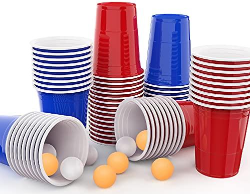 MOZOOSON Jeux à Boire, Gobelet Réutilisable Rouges et Bleues 16oz 473ml 100 Pièces - Idéal pour Jeu Américain de Beer Pong - avec 10 Balls de Ping-Pong