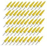 Tianher maíz Pinchos 50 Pieza Barbacoa de maíz Calor inoxidables Aislamiento Reutilizables de Soporte Doble Prong Tenedor para barbacoas cocinas