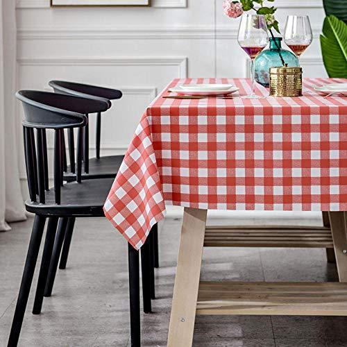 Dthlay PVC tafelkleden rechthoek rood en wit geruite stiksels