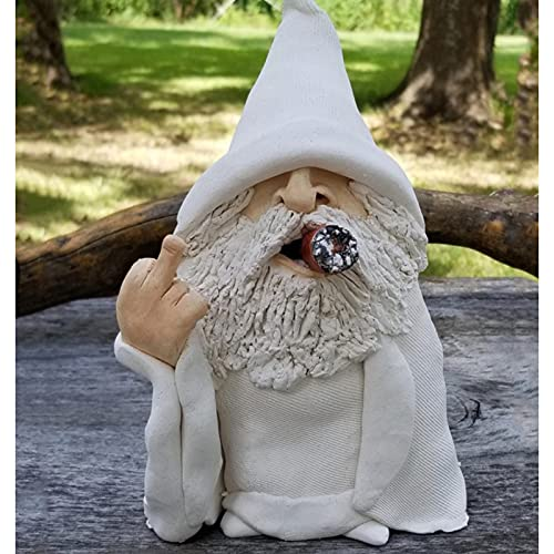 Garden Gnome, Wizard Gnome 3D Dwarves, Polyresin Outdoor Sculpture Middle Finger Gnome Statue Garden Figurine Art Garden Decoration for Lawn Yard Balcony Porch Patio