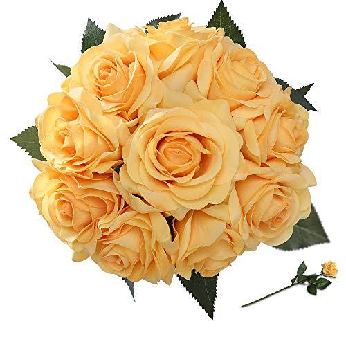 StarLifey Seda Flores Artificiales Rosa 10 Jefes de Seda Artificial Flores Falsas Tan Natural (Rojo)