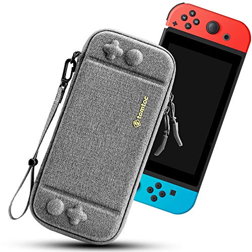 tomtoc Carry Case for Nintendo Switch, Ultra Slim Hard Shell with 10 Game Cartridges, Protective Carrying Case for Travel, with Original Patent and Military Level Protection, Gray