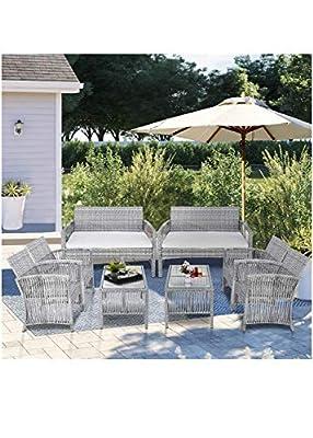 landeer 8-Piece Outdoor Conversation Set Patio Furniture Set Bistro Set Rattan Wicker Chairs Cushions Garden Backyard Sofa with Coffee Table(Gray)