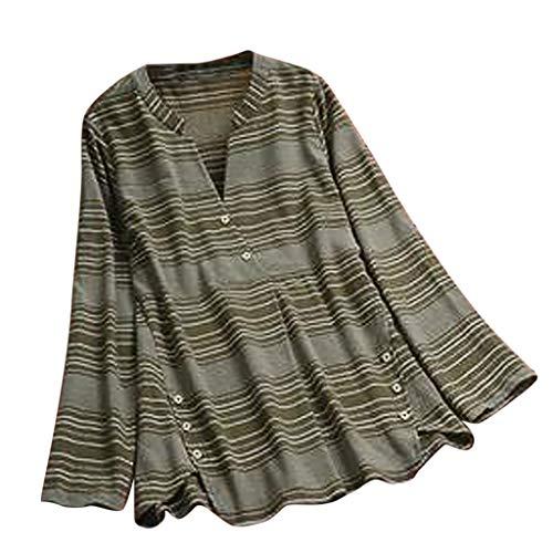 NnuoeN Pullover Tunica Allentata Button Down da Donna T-Shirt a Maniche Lunghe con Stampa Floreale retrò T-Shirt in Cotone Taglie Forti
