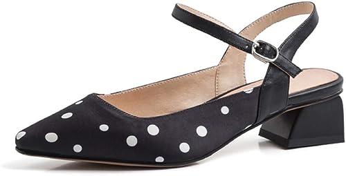 Sandales pour pour pour femmes Summer Round Sandals Chaussures pour Femmes Romaines Sandales à Talons Hauts Talons Hauts pour Femmes - Design Creux - Hauteur de Talon de 3,5 cm (Couleur   noir, Taille   37) 1bc