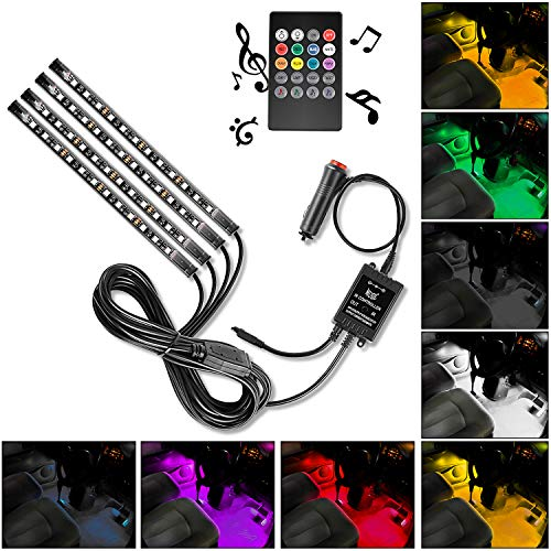 Nilight - TR-06 4PCS 48 LED Interior Lights DC 12V Multicolor Music Car Strip Light Under Dash Lighting Kit with Sound Active Function and Wireless Remote Control, 2 Years Warranty
