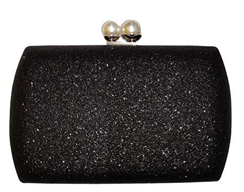 Ro Rox Cecile Vintage Retro Perle Abendparty Box Clutch Tasche Handtasch - Schwarz