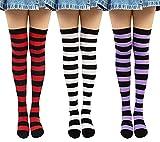 Chalier Calcetines Hasta la Rodilla para Mujer Calcetines Largos a Rayas Sobre la Rodilla Muslo Calcetines Altos Niña de Cosplay