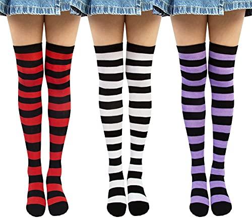 Chalier Gestreifte Kniestrümpfe Overknee Strümpfe Damen Lange Gestreifte Socken Thigh High Socks Beinwärmer Schenkel Socken für Mädchen