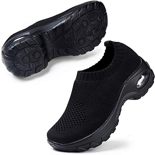Women Men Mesh Slip On Sneakers Lightweight Comfortable Breathable Knit Walking Shoes All Black 8.5