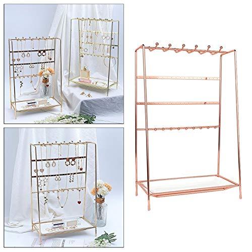 Organizador de joyas con soporte multifuncional para pendientes con bandeja de cerámica para collares y joyas (color oro rosa)