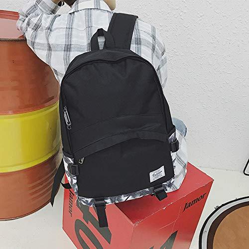 SQBB Studenten Backpack Japanische einfache einfarbige Tasche männer Mode Trend straße junior high School College Studenten Rucksack zauber Ledertasche schwarz, kokos schwarz