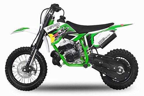 "Dirtbike 49cc NRG 50 12""/10"" RS Neues Design Cross Pocket Bike ATV Kinderfahrzeug (Grün)"