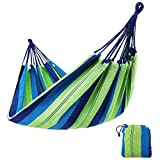 SONGMICS Cotton Hammock Swing Bed for Patio, Porch, Garden or Backyard Lounging - Heavy-Duty, Lightweight and Portable - Indoor Outdoor - Natural