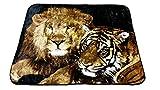 YSN Home Collection 2265 Wolldecke Decke Kuscheldecke Tagesdecke Löwe & Tiger XXL 2-Personen - 205x230 cm weich warm kuschelig Liebe Love