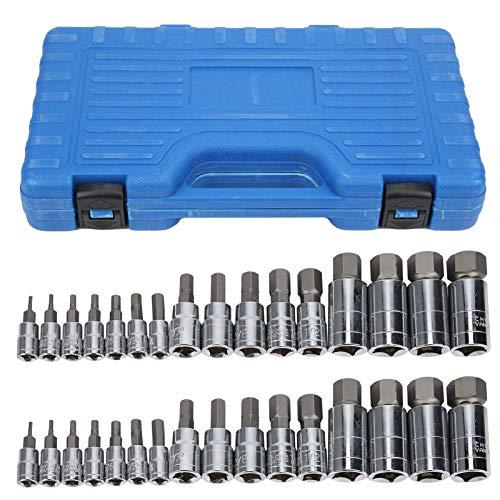 Juego de 32 brocas hexagonales de acero de 2 a 19 mm, adaptador de herramienta