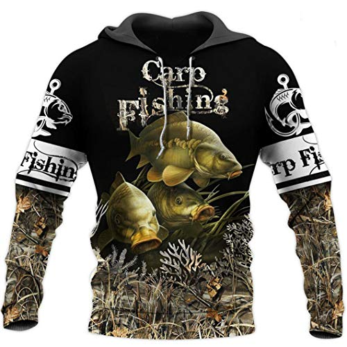 Animal Carp Fishing 3D All Over Printed Men Hoodie Harajuku Chaqueta Pullover Hoodies XL
