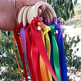 Newest 10pcs/lot Rainbow Color Stain Ribbon Wooden Ring with Sliver Bell for Hand Kite Toy Fly ME Birthyday Party Favors