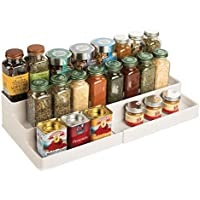 mDesign Especiero para Armario de Cocina o encimera – Estante Extensible para almacenar condimentos y ordenar la Cocina – Organizador de Especias de plástico con 3 Niveles – Beige