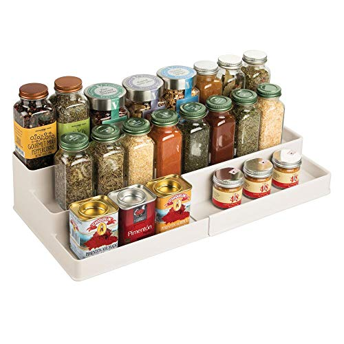 mDesign Plastic Adjustable, Expandable Kitchen Cabinet, Pantry, Shelf Organizer/Spice Rack with 3 Tiered Levels of Storage for Spice Bottles, Jars, Seasonings, Baking Supplies - Cream/Beige