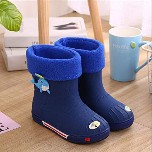HRFHLHY Leuke baby water schoenen antislip dikke warme jongens en meisjes regenlaarzen Dolphin cartoon kinderen regenlaarzen, blauw, 32