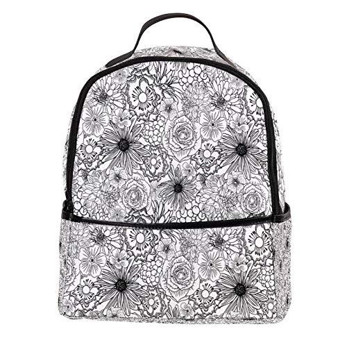 ATOMO Casual Mini Backpack Original skeching Flowers Pattern PU Leather Travel Shopping Bags Daypacks