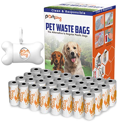 PoshWag Dog Poop Bags [360 Count] with Free Dispenser and Leash Clip - Best Pet Waste Poop Bag...