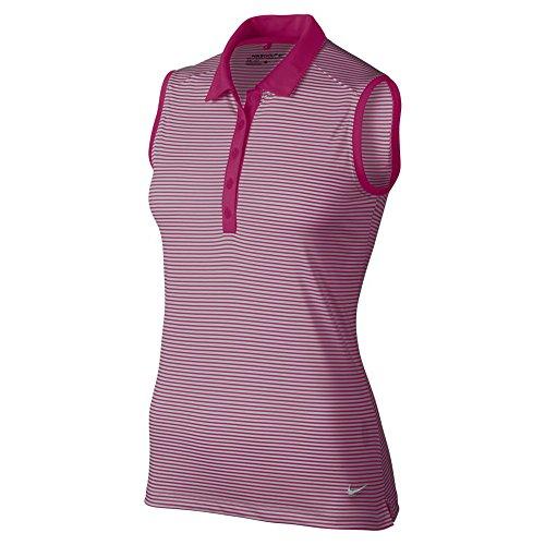 Nike Victory Stripe Sleeveless Golf Polo 2016 Womens Sport Fuchsia/White Medium