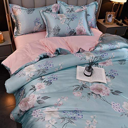 Juego de edredón con 2 fundas de almohada,Cubierta de seda de la seda de la seda de la seda de la primavera y el verano de la seda de la seda de la seda de la boda de la ropa de cama, juego de cama d