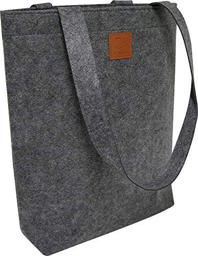 KHI Designer Filztasche Gross, grau, 36 x 40 x 10 cm Tragetasche mit Henkel, Einkaufstasche, Shopper Bag, robust, Filzshopper, XL Tasche, Einkaufsshopper, nachhaltig