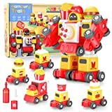 hacontate STEM Toys for 3 4 5 Year Old Boys Gift, 5-in-1 Train Transform Robot Take Apart Toy, Kids Construction Toy Building Set for Boys Girls Birthday Gifts