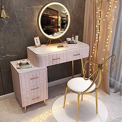 Mädchen Schminktisch Spiegel Mit Lichtern Schlafzimmermöbel Set Mit Seitenschubladen Marmor Arbeitsplatte Make-up Tisch Mit Luxuriös Gepolstertem Hocker (Pink)