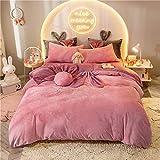 MRTYU-UY Mantas, Edredones, Ropa de cama una familia de cuatro súper suave, bebé conejo cachemira/terciopelo coral, grueso