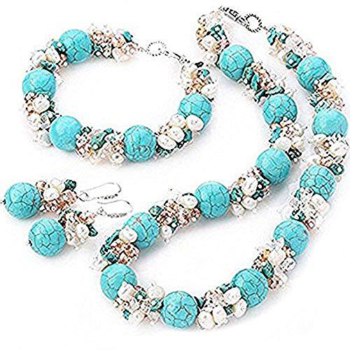 TreasureBay - Set braccialetto con collana e orecchini abbinati, in perle d'acqua dolce, perline di cristallo e pietra turchese