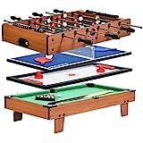 COSTWAY Mesa de Fútbol/Hockey/Billar/Ping-Pong 4 en 1 Mesa de Juego de Madera Multifuncional para Niños y Adultos