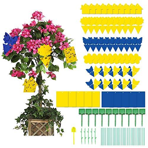 Imbomsi 50 Pcs Gelbsticker und 10 Pcs DIY Gelbtafeln, wasserdichte Fliegenfalle, Trauermücken Können Drinnen, Balkone und Gärten Aufgestellt Werden