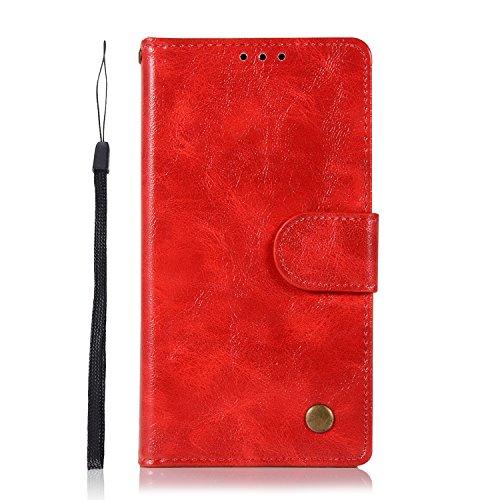 Sunrive Hülle Für BlackBerry DTEK50 / Alcatel Idol 4, Magnetisch Schaltfläche Ledertasche Schutzhülle Etui Leder Hülle Cover Handyhülle Schalen Handy Tasche Lederhülle(J Rot)+Gratis Eingabestift