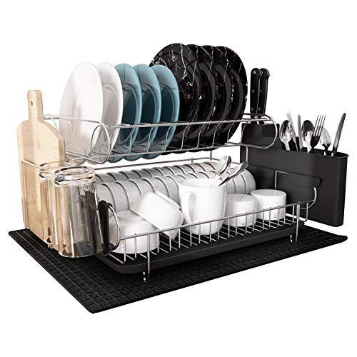 Dish Drying Rack, MAJALiS Large Stainless Steel 2 Tier Dish Rack with Drainboard Set for Kitchen Counter, Fully Size Kitchenaid Dish Drainer with Tray(Black Double)