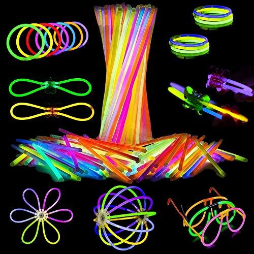 Attikee 448 PCS Glow Sticks Bulk, Glow Party Supplies, 8 Inch 7 Colors 200PCS Glow Sticks & 248PCS Connectors for Eyeglasses Balls Flowers Necklaces Bracelets, Glow in Dark Light Sticks for Kid Adult