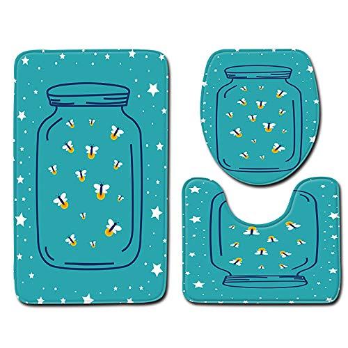 NGHXZ 3pcs anti-slip badmat Stella wc-pad zitting badkamer keuken accessoires wc-stoelhoezen voetmatten polyester decor