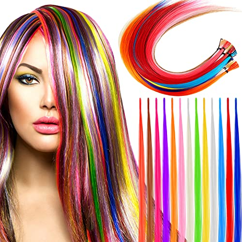 130 Pieces Women Feather Hair Extensions Colored Straight Hair Extensions Colorful Hair Extensions Multi-Colors Long Hairpiece Synthetic Hair Strand Colored Party Highlights for Teen Girls, 13 Colors