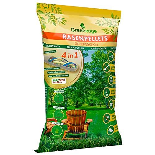 Greenedge Garten Rasenpellets Rasen - Rasensamen für robusten und widerstandsfähigen Rasen - Grassamen für 45-50 m² zur Einsaat und Nachsaat