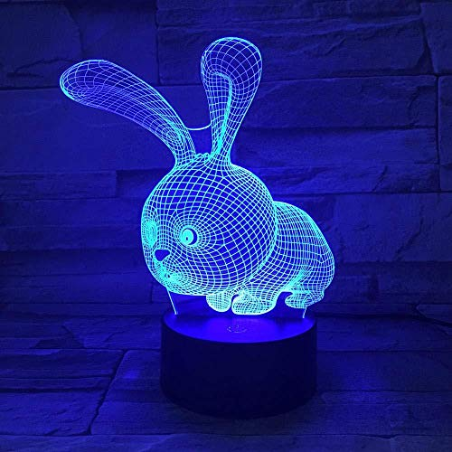 TIANXIAWUDI Square Rabbit 7 Colors Touch Cute Bunny Lamp/Touch Sensor Child Kids Baby Gift Night Light/Home Decor Lighting Rabbit LED Night Lights-Lying Rabbit_Touch 7 colors