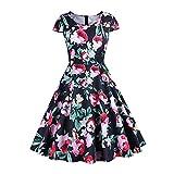 De las mujeres de los años 50 años 60 una línea de Rockabilly vestido de manga vintage Swing vestido de fiesta de las señoras retro punto vestido de fiesta R060, rosso, Small