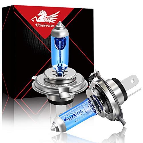 WinPower H4 60 55W Lampada alogena 12V auto Moto 5000K Bianco caldo Super Bright Hi Lo Doppio faro Lampadine, 2 pezzi