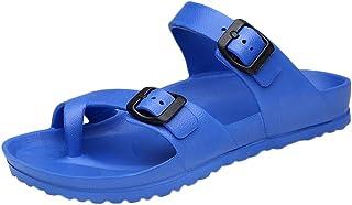 Geetobby Mens Oiled Leather Sandals EVA Sandal Unisex Womens Slide-On Sandal