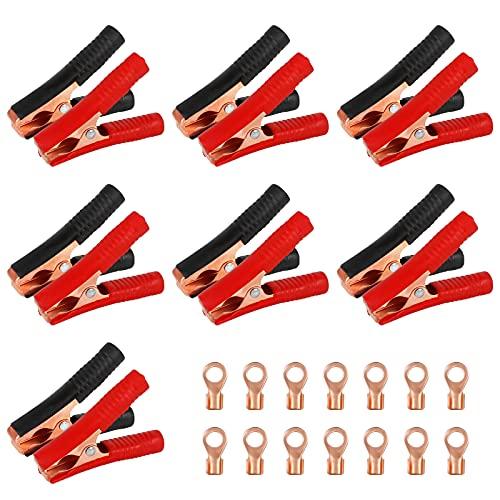 Huahao 14 Pcs 100A Pince Crocodile en Cuivre Cavaliers Pinces Pinces de Batterie de Voiture Pince Crocodile Automatique Batterie de Voiture Electrique Pinces Crocodiles pour Chargeurs de Batterie