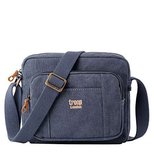 Troop London TRP0235  Classic Canvas Across Body Bag, Canvas Bag Smaller than A4, Blue
