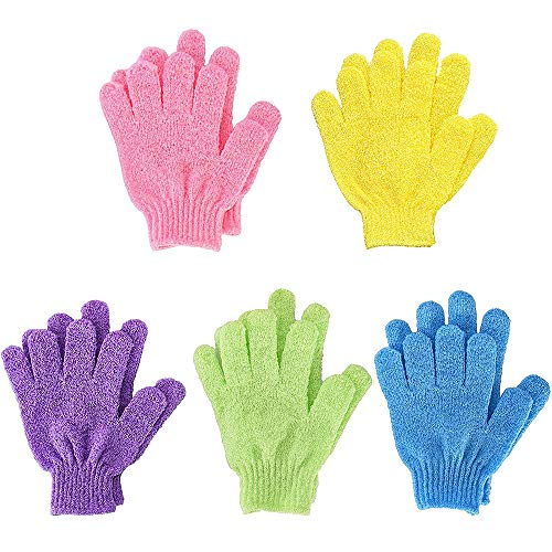 Bath Gloves,Shower Gloves 5 Pares Guantes de Baño Exfoliantes Exfoliating Body Scrub Mitt Double Side para Hombres Mujer Niños