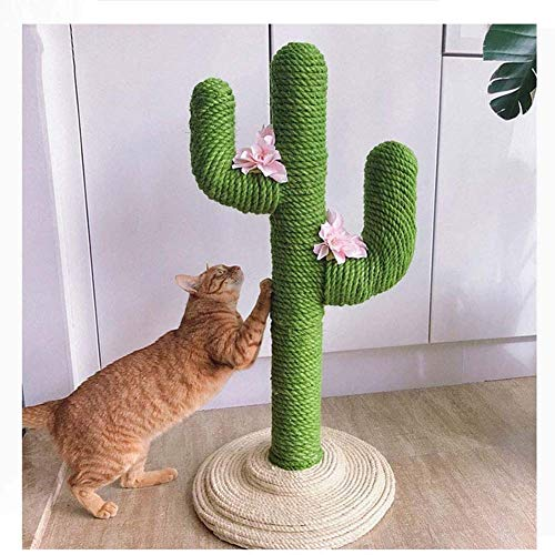 WANGIRL Indoor Cactus Tiragraffi per Gatto Albero dei Gatti Corda di Canapa Tira Graffi Verde Torre